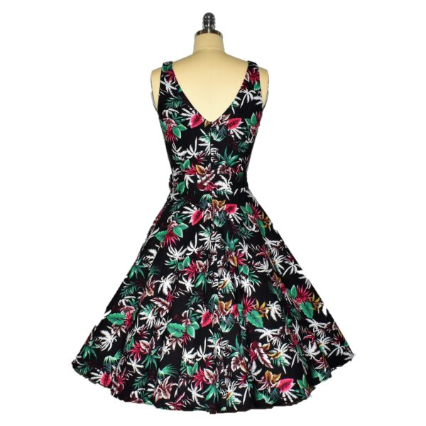 Siren Clothing 50's vintage-inspired Swing Dress with Audrey Hepburn neckline back view