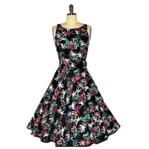 Fifties Style Swing Dress with Audrey Hepburn neckline Front View