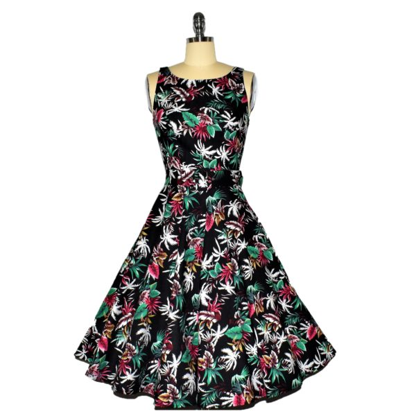 Siren Clothing 50's vintage-inspired Swing Dress with Audrey Hepburn neckline Front View