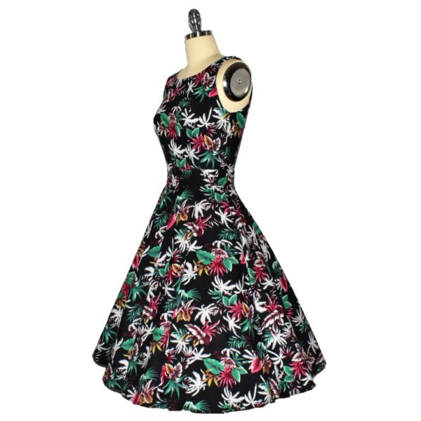 Siren Clothing 50's vintage inspired Swing Dress with Audrey Hepburn neckline Side View