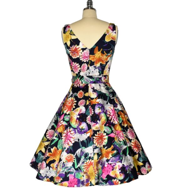 Siren Clothing 50's vintage inspired Swing Dress with crossover bodice back view