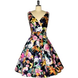 Fifties style swing dress with crossover bodice
