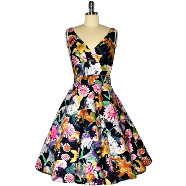 Siren Clothing 50's vintage inspired swing dress with crossover bodice
