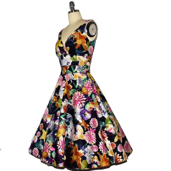 Siren Clothing 50's vintage-inspired swing dress with crossover bodice side view