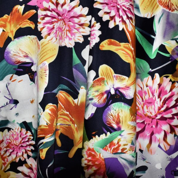 Cotton Spandex sateen fabric with exotic tropical floral print
