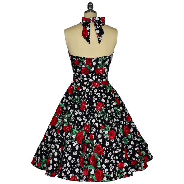 Siren Clothing 50's vintage-inspired halter neck swing dress in roses and daisies cotton spandex fabric, back view