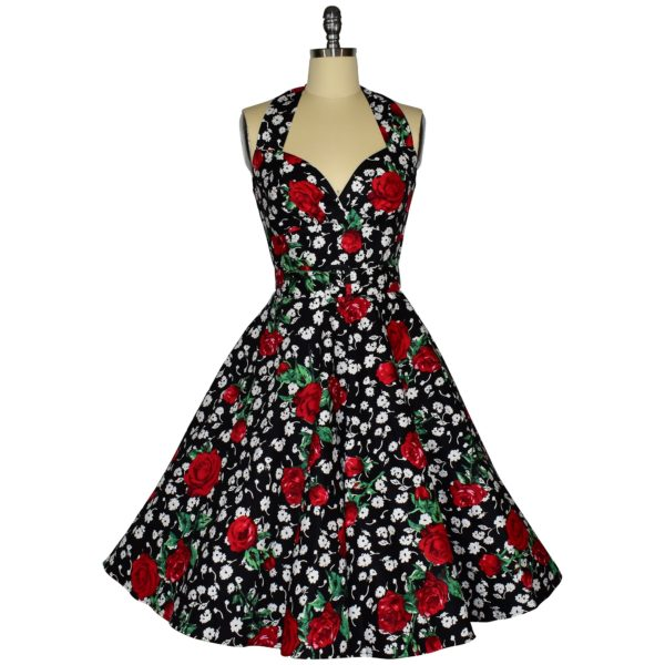 Siren Clothing 50's vintage-inspired halter neck swing dress in roses and daisies cotton spandex fabric