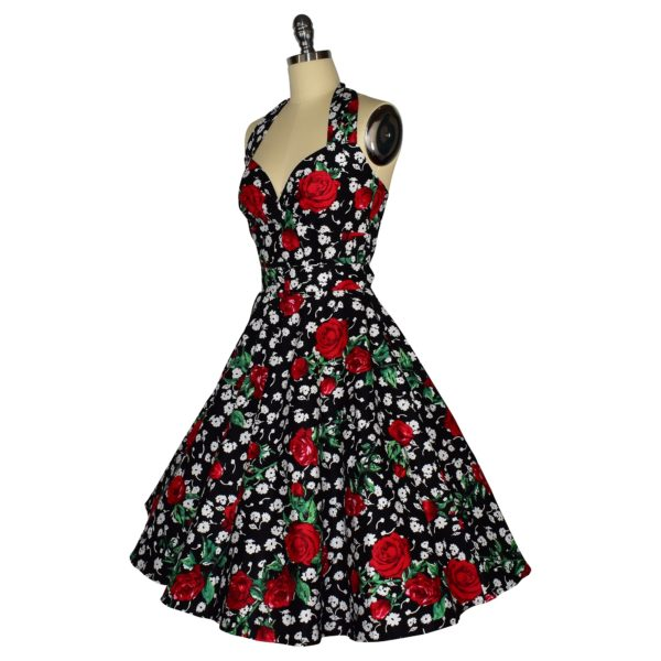 Siren Clothing 50's vintage-inspired halter neck swing dress in roses and daisies cotton spandex fabric, side view
