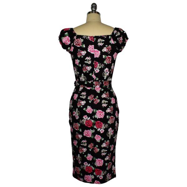 Siren Clothing 50's vintage-inspired wiggle dress with elasticated sleeves in pink posy on black cotton spandex fabric, back view