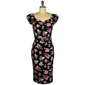 Fifties style wiggle dress in pink posy on black cotton spandex fabric