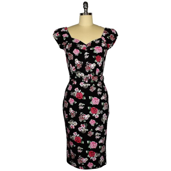 Siren Clothing 50's vintage-inspired wiggle dress with elasticated sleeves in pink posy on black cotton spandex fabric