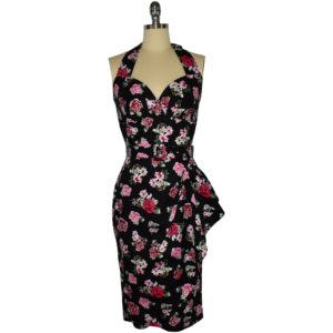 Fifties style halter neck wiggle dress in pink posies on black cotton spandex fabric