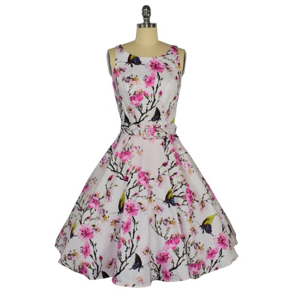 Siren Clothing 50's vintage-inspired high necked, sleeveless swing dress in butterflies and blossom cotton spandex fabric