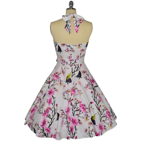 Siren Clothing 50's vintage-inspired halter neck swing dress in butterflies and blossom cotton spandex fabric, back view
