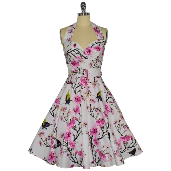 Siren Clothing 50's vintage-inspired halter neck swing dress in butterflies and blossom cotton spandex fabric