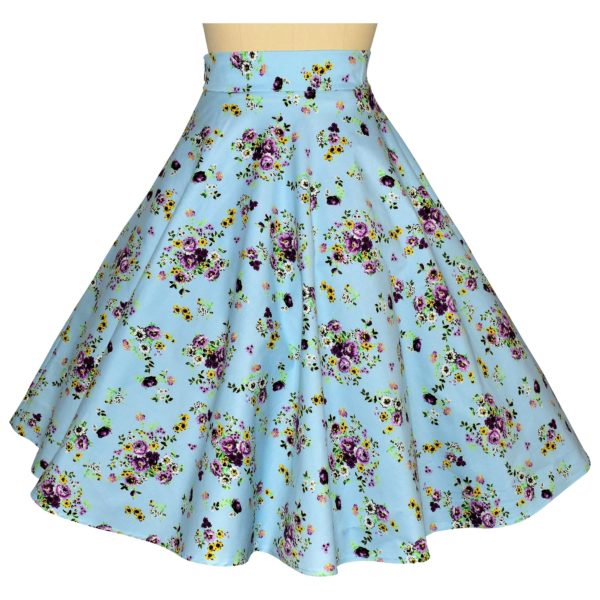 Siren Clothing 50's vintage-inspired swing skirt with large pockets in blue floral cotton spandex fabric, back view
