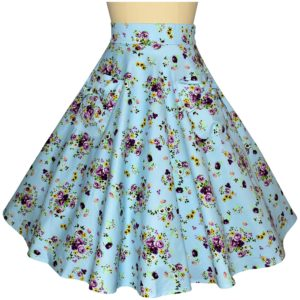 Siren Clothing 50's vintage-inspired swing skirt with large pockets in blue floral cotton spandex fabric