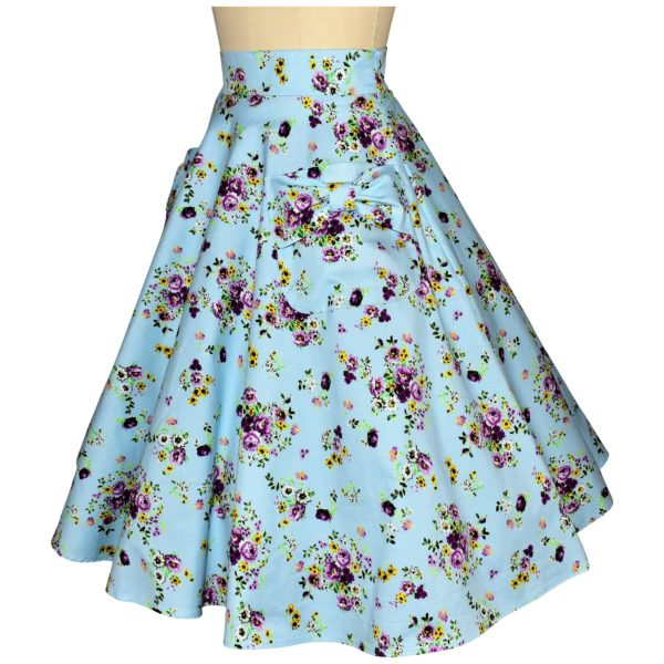 Siren Clothing 50's vintage-inspired swing skirt with large pockets in blue floral cotton spandex fabric, side view