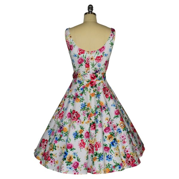 Siren Clothing 50's vintage-inspired scoop neck swing dress in white floral print fabric, back view
