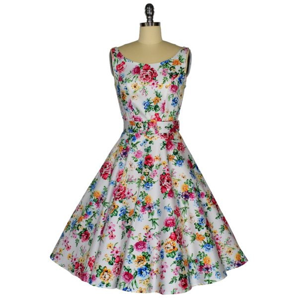 Siren Clothing 50's vintage-inspired scoop neck swing dress in white floral print fabric.