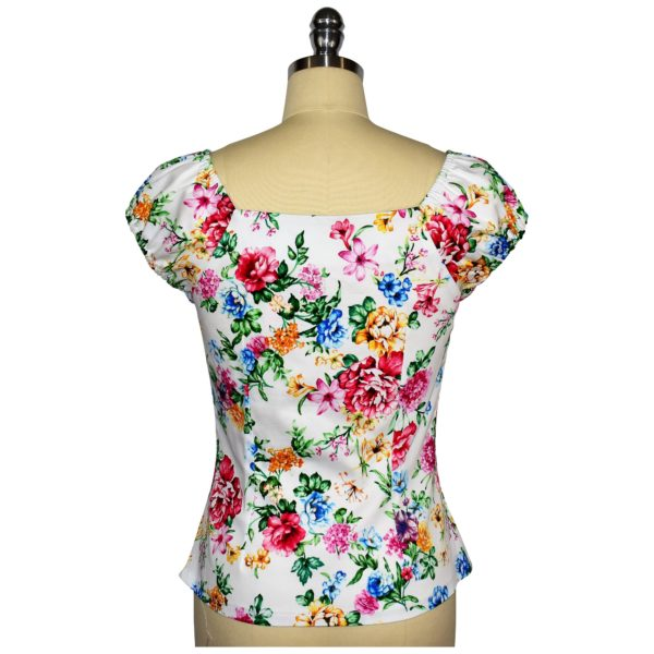 Siren Clothing 50's vintage-inspired top with elasticated short sleeves and front pleat detail in white floral cotton spandex fabric, back view