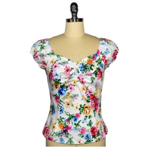 Siren Clothing 50's vintage-inspired top with elasticated short sleeves and front pleat detail in white floral cotton spandex fabric
