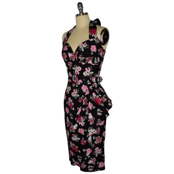 Siren Clothing 50's vintage-inspired halter neck sarong wiggle dress in black and pink floral print fabric, side view