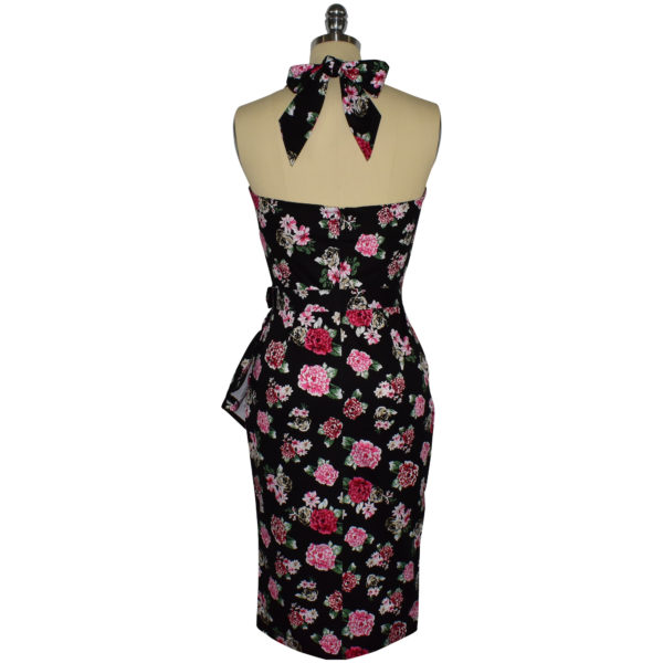 Siren Clothing 50's vintage-inspired halter neck sarong wiggle dress in black and pink floral print fabric, back view