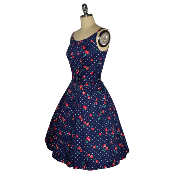 Siren Clothing 50's vintage-inspired sundress with adjustable straps in navy cherry print fabric, side view