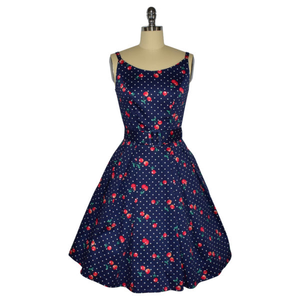 Siren Clothing 50's vintage-inspired sundress with adjustable straps in navy cherry print fabric.