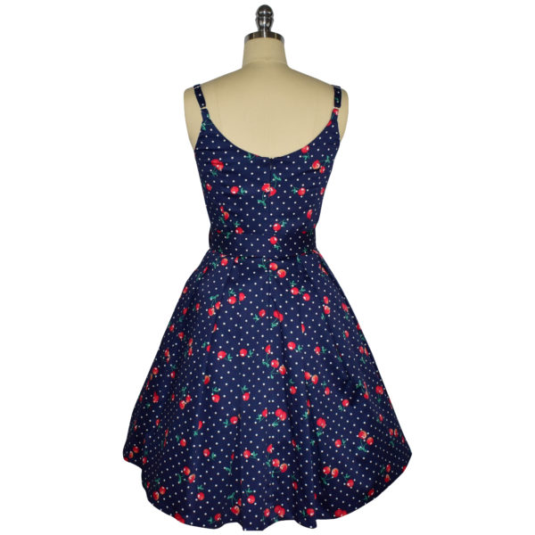 Siren Clothing 50's vintage-inspired sundress with adjustable straps in navy cherry print fabric, back view