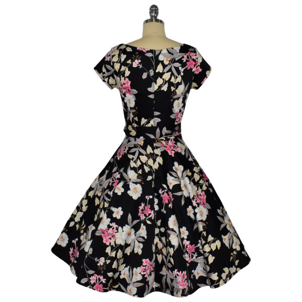 Siren Clothing 50's vintage-inspired swing dress with short sleeves in black and pink floral fabric, back view
