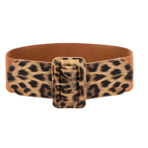 Wide elastic belt with Leopard print buckle and front